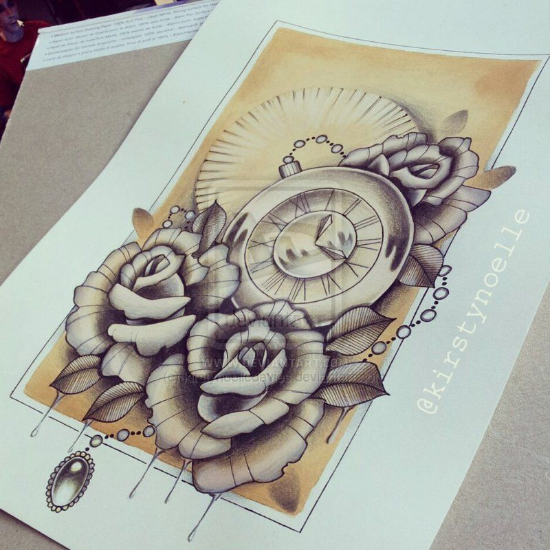 Rose And Stopwatch Tattoo Design For Sale By Kirstynoelledavies Deviantart Com On Deviantart Tattoo Designs Tattoos Rose Tattoo Design