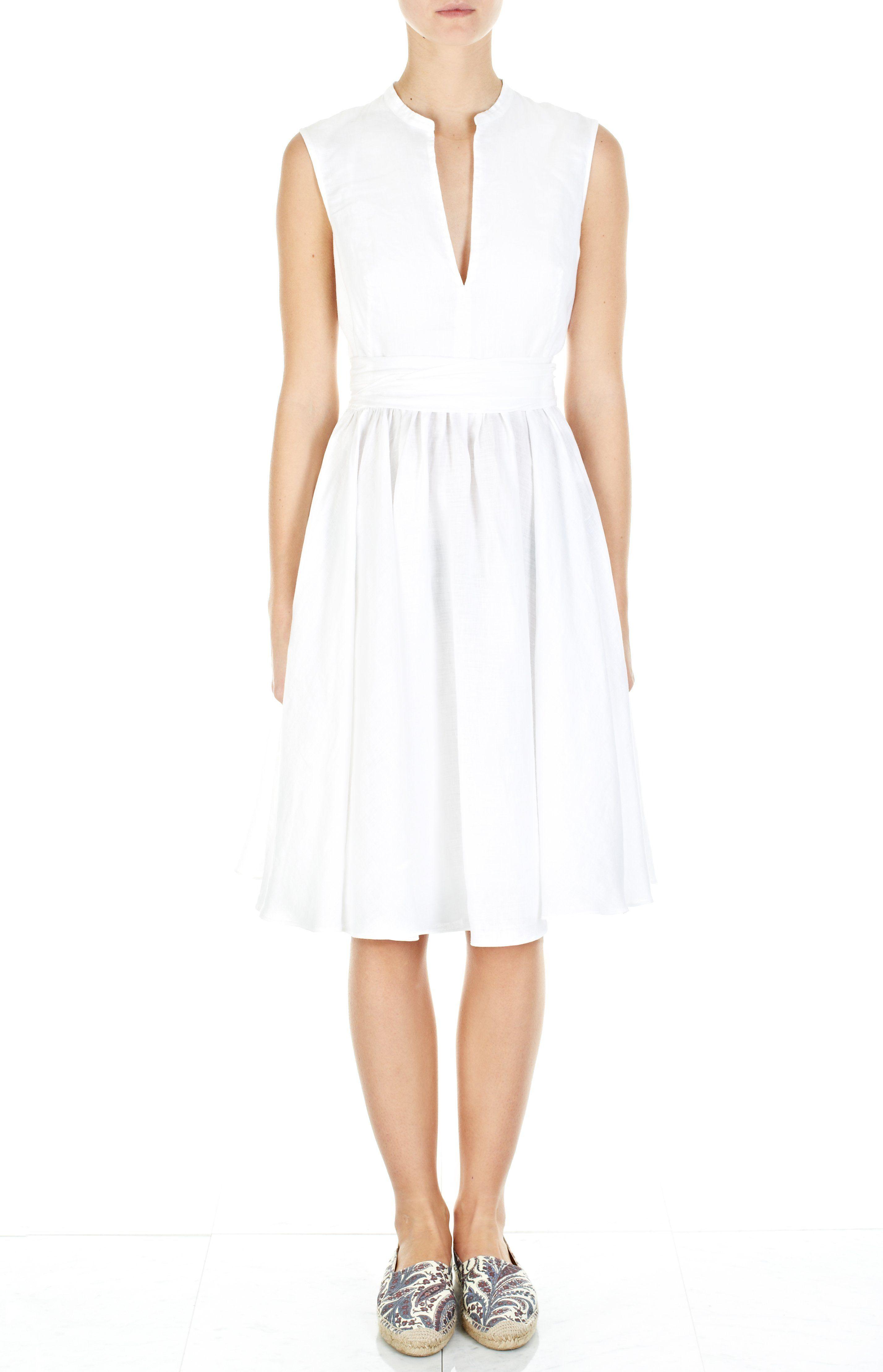 Weißes Leinenkleid mit Taillenband   Clothes & accessories ...