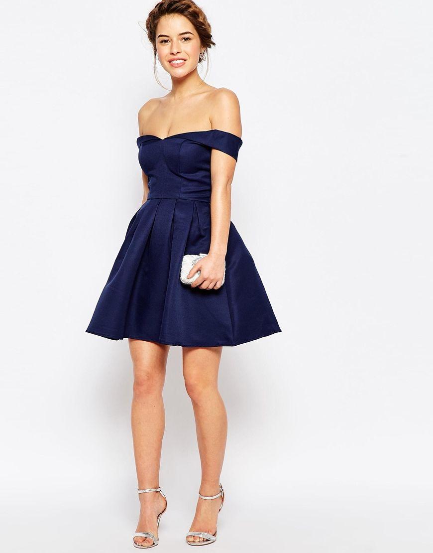 Image 4 ofChi Chi London Petite Mini Prom Dress With Full Skirt And Bardot Neck