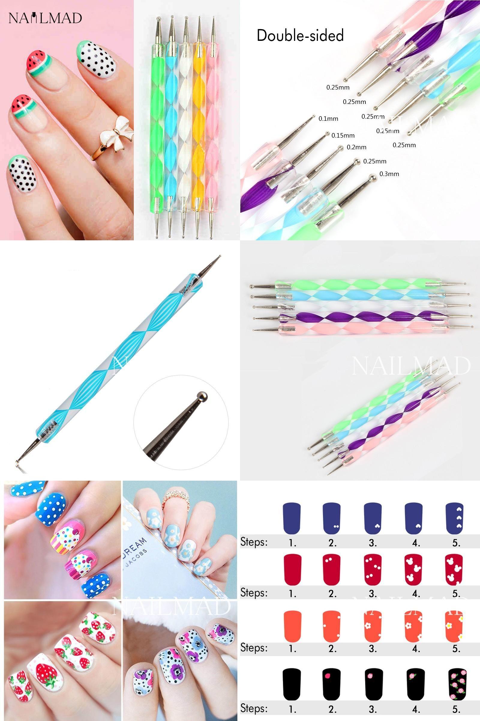Visit To Buy 5pcs 2 Way Dotting Tools Marbling Tool Nail Art