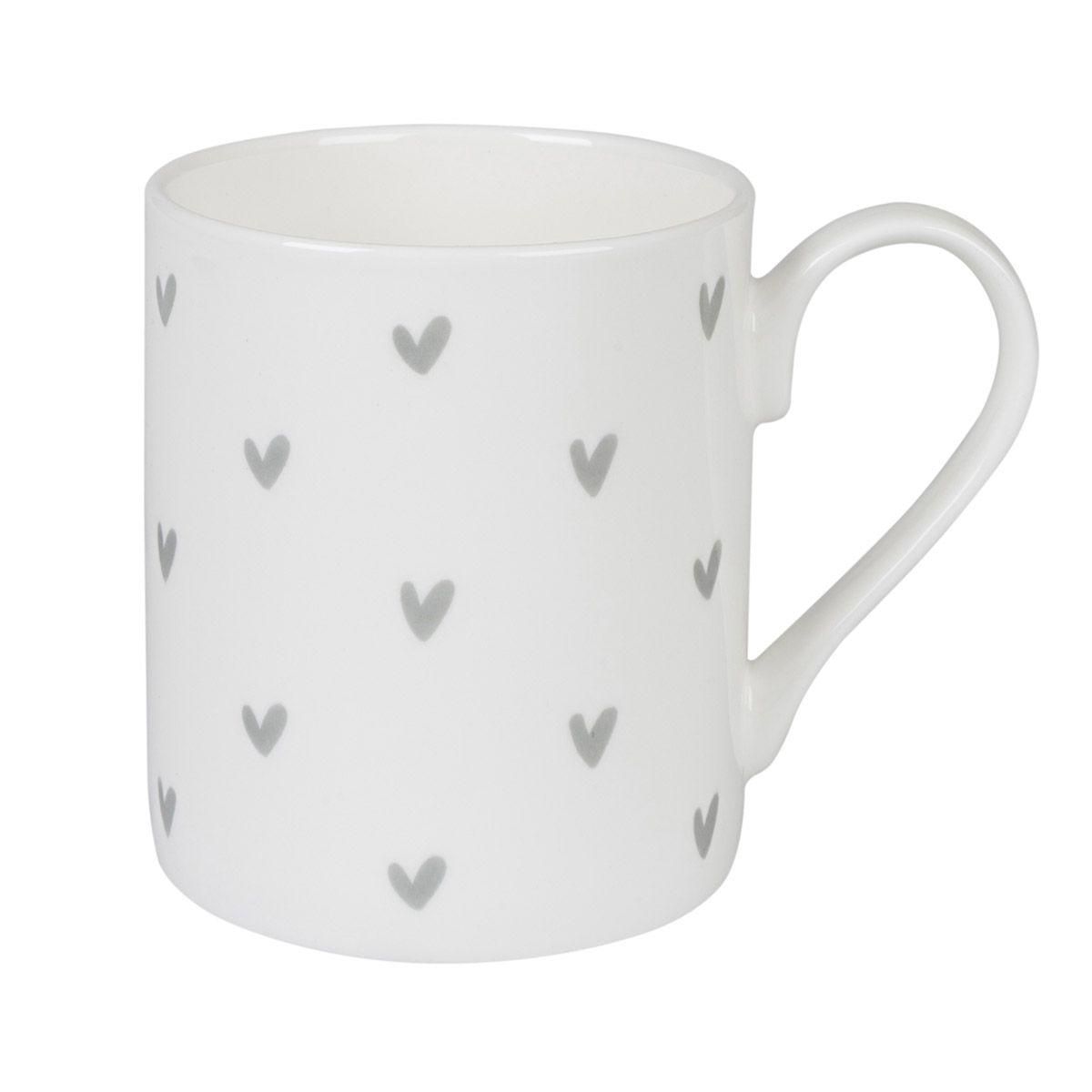 Chic Hearts Mugs Set of 4 Fine Bone China Hearts Mugs Hand Decorated in the UK