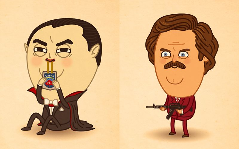 Funny Cartoon Illustrations of Famous Characters by Mike ...