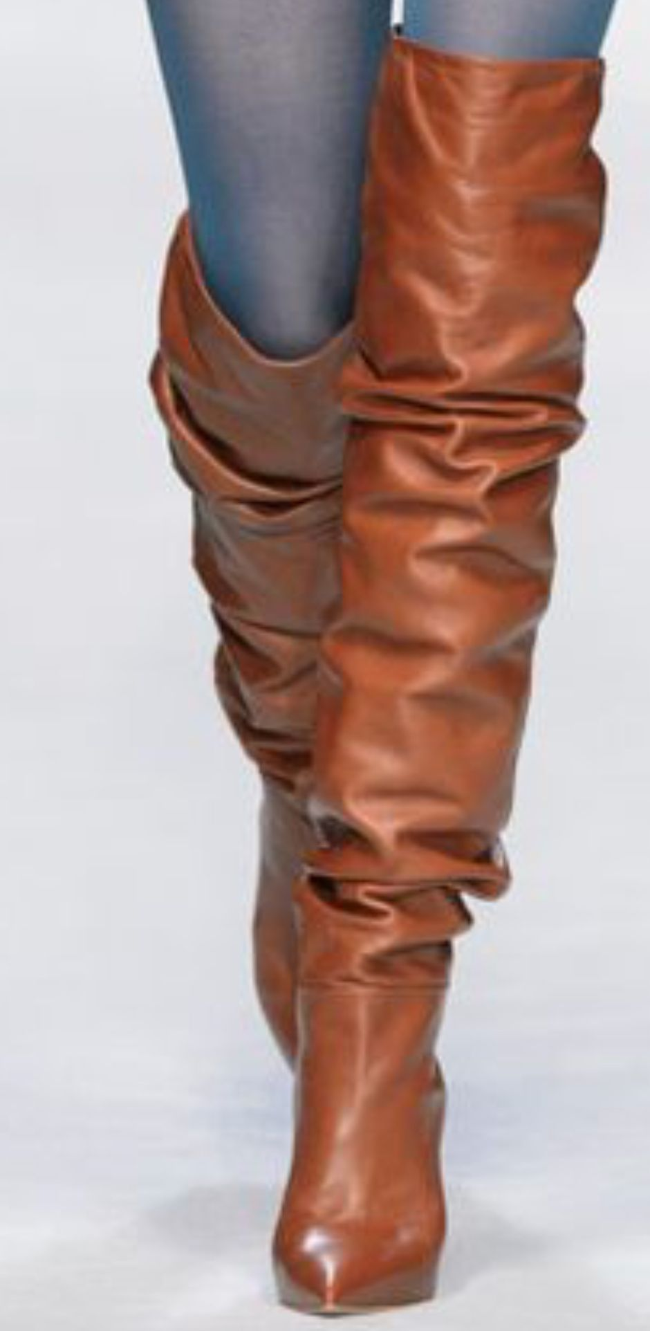 d7e5f978c930 Slouchy cognac leather boots runway fashion | winter/Fall Fash ...