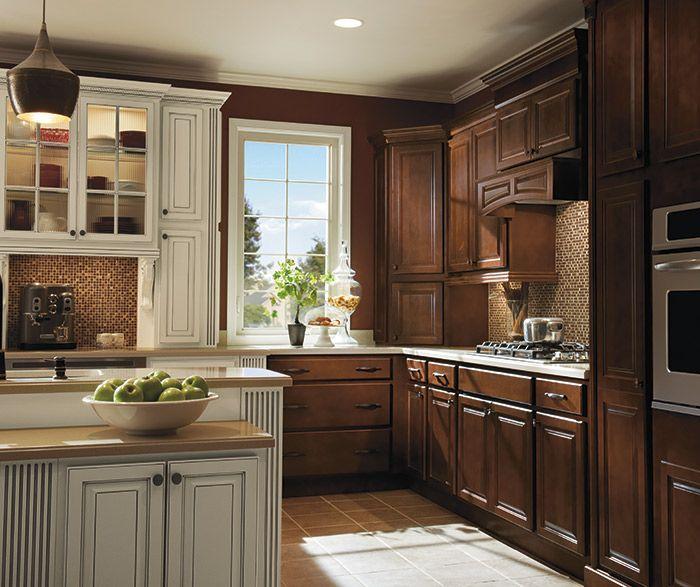 Dark Maple kitchen cabinets in Bison finish with Ivory ...