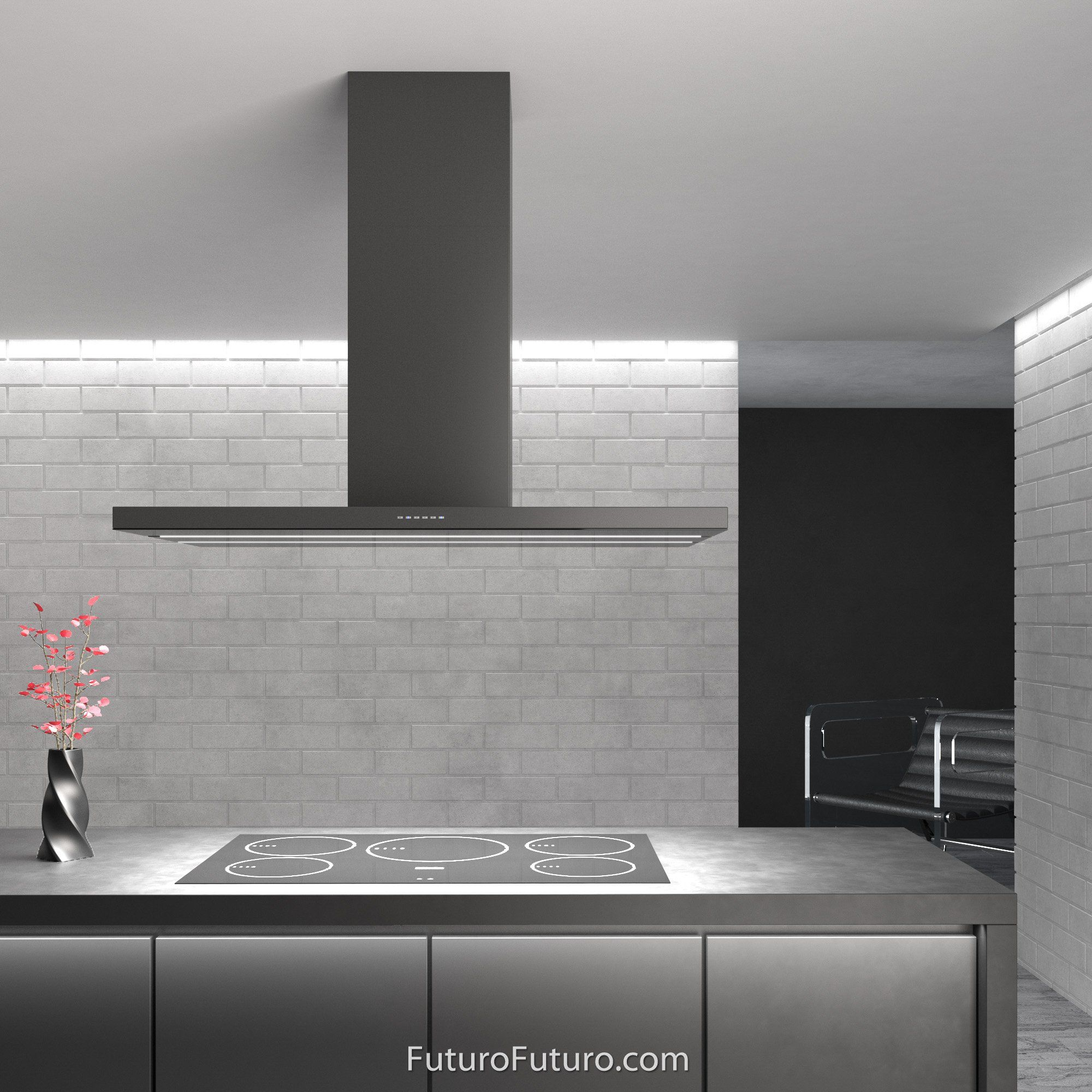 48 Viale Black Island Range Hood By Futuro Futuro In 2020 Island Range Hood Kitchen Exhaust Kitchen Ventilation