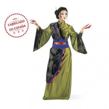0c317fc298  Disfraz de  Geisha verde para Mujer. Un vestido de gran calidad a un  precio inmejorable  FabricadoenEspaña  China  Japonesa