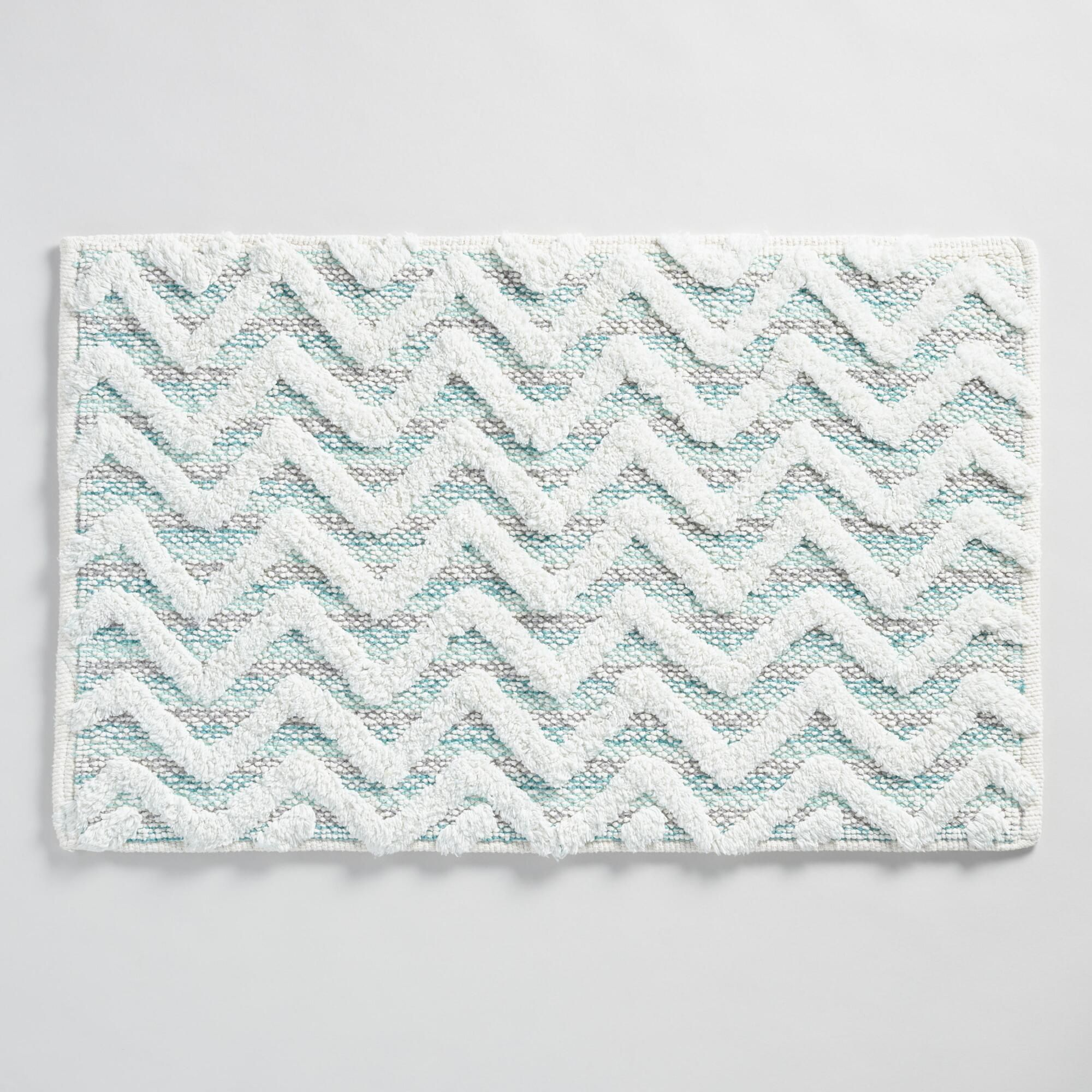 Refresh Your Bathroom Look Easily With Our Soft Woven Cotton Bath Mat It Features A Tufted Chevron Design In Bath Rugs Sets Modern Bathroom Rug Small Bath Mat [ 2000 x 2000 Pixel ]