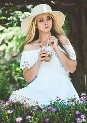 white off the shoulder lace scalloped casual dress shein