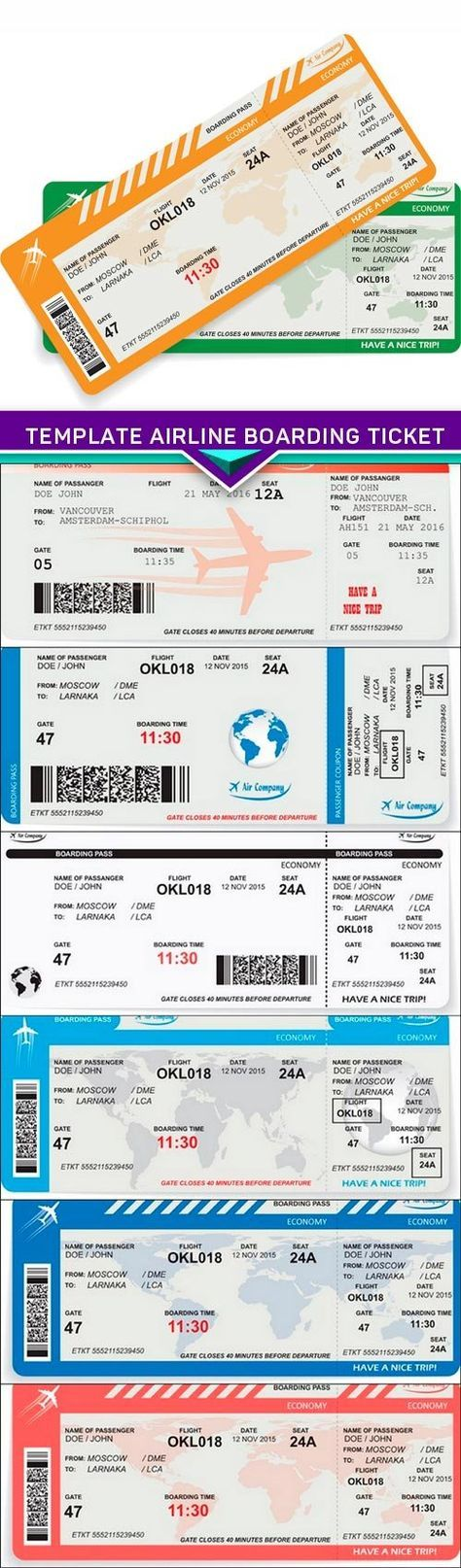 Travel concept, template airline boarding ticket 6X EPS