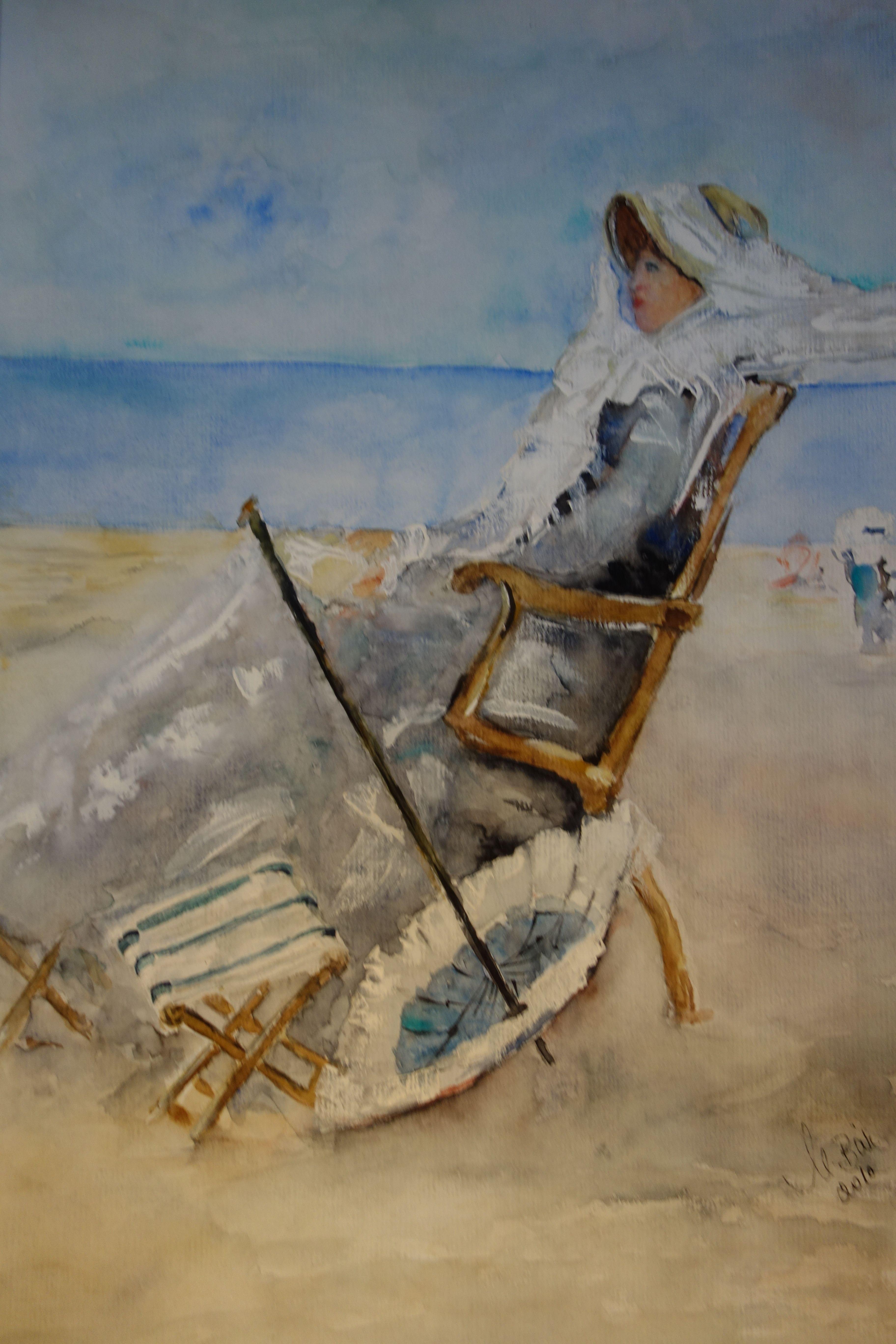 Designerstuck Aquarell Gemalt Von Maria Bar Dame An Strand