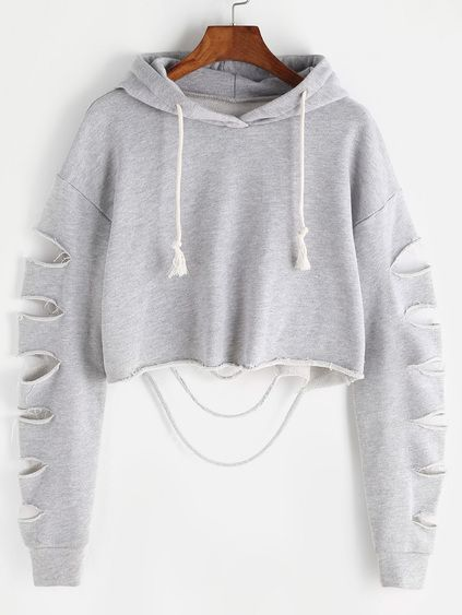 ee4e95fcc8033 Ripped Sleeve Crop Hoodie follow  abbysaweirdo for more Ripped Hoodie