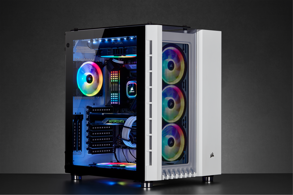 The New Corsair Crystal Series 680x Rgb Is A Dual Chamber Tempered Glass Atx Case Available In Both White And Black Colors Pc Cases Tempered Glass Graphic Card