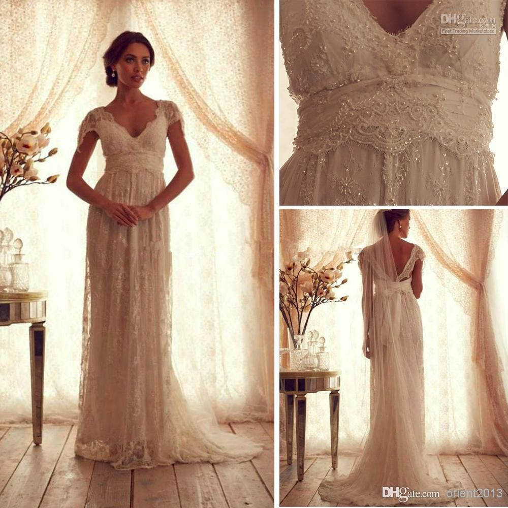 Wholesale vintage lace wedding dress with short sleeves anna