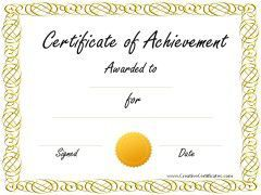 Sample Achievement Award  Certificate    Certificate