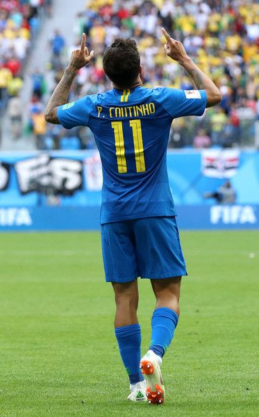 Philippe Coutinho Photos - Philippe Coutinho of Brazil celebrates scoring the opening goal during the 2018 FIFA World Cup Russia group E match between Brazil and Costa Rica at Saint Petersburg Stadium on June 22, 2018 in Saint Petersburg, Russia. - Philippe Coutinho Photos - 8 of 1767