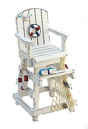 beach chair bathroom accessories ostrich chairs 13 weathered white wood lifeguard with decorations great centerpiece accessory house table decor or cute gift