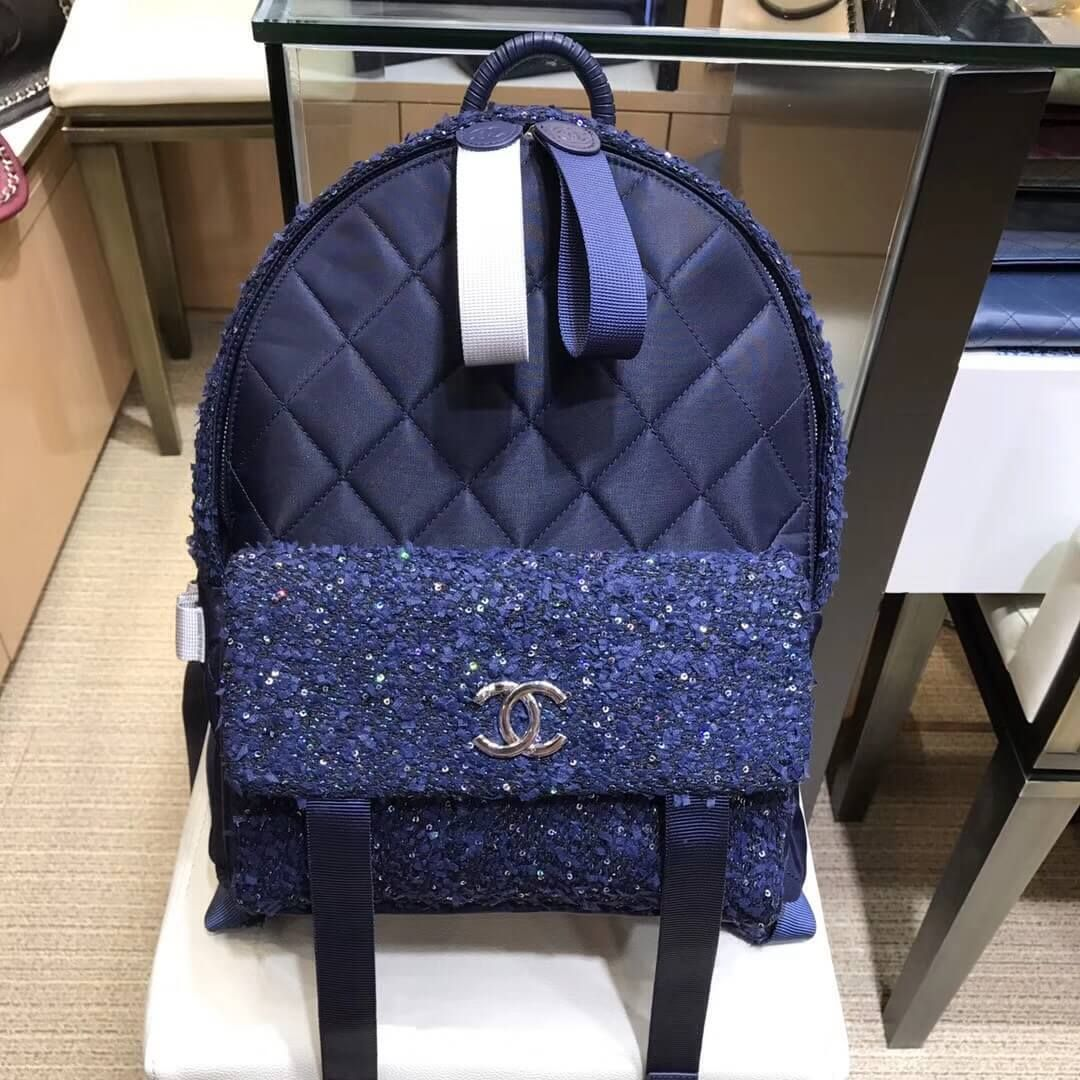 84a1e1a5e005 Chanel Glitter Tweed and Nylon Astronaut Essentials Backpack A91964 F/W 2017