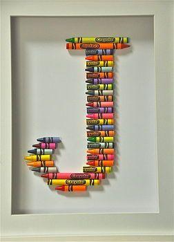 Crayola-Buchstabe-Kunst im Blau oder in den Rosa #kreativehandwerke