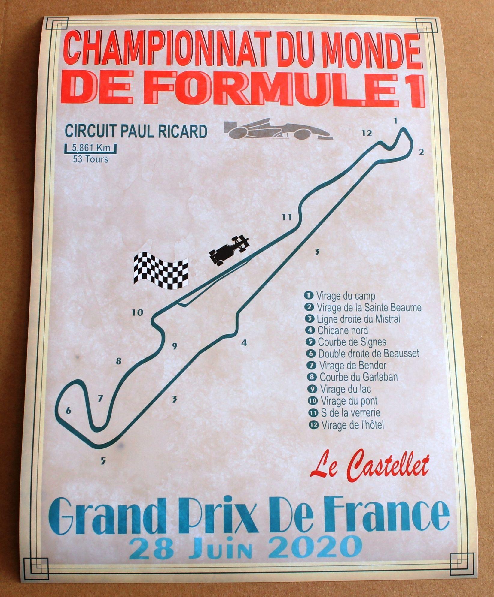 Superbe Affiche Deco Grand Prix De France De Formule 1 Le