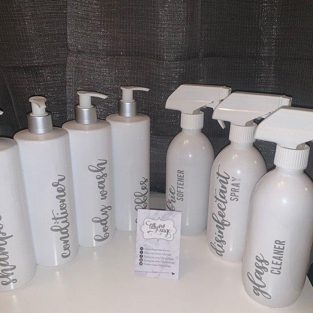 Black Reusable Bathroom Toiletries Bottles In Skinny Font