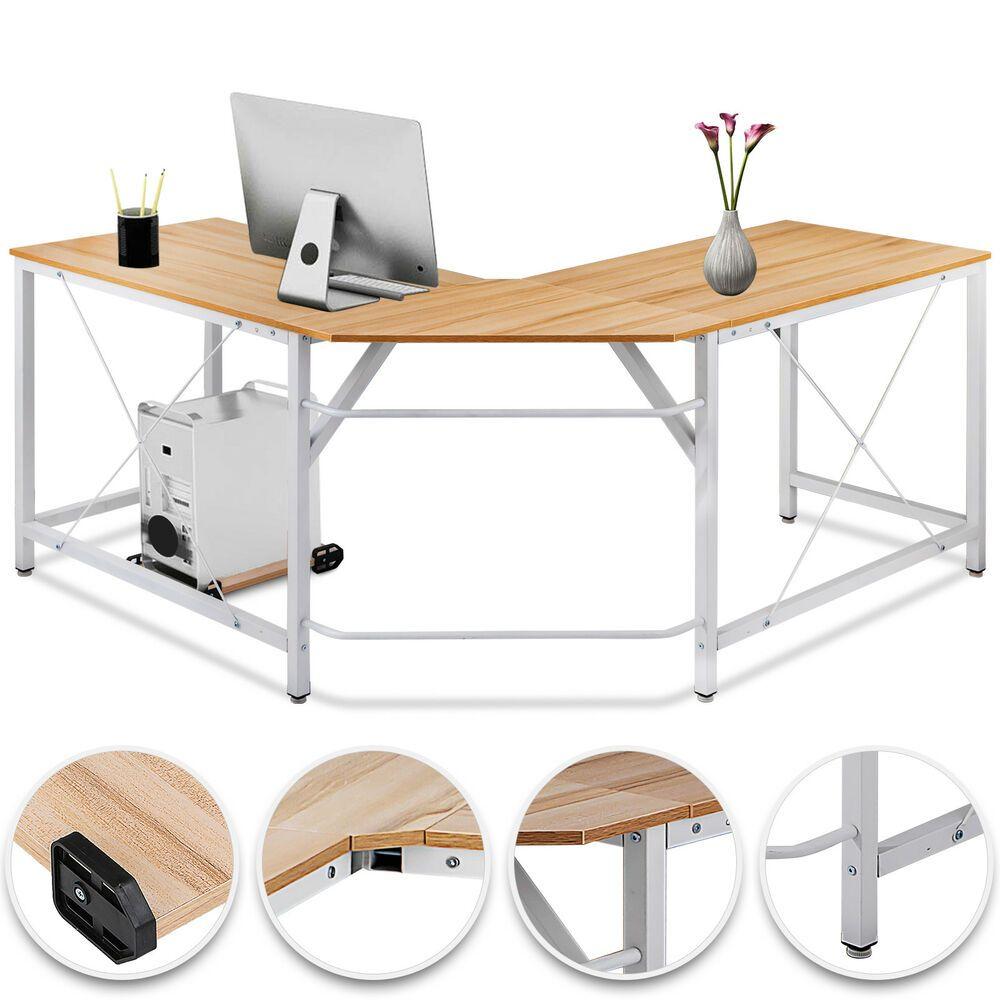 L Shaped Corner Computer Desk Home Office Mdf Smooth Tabletop