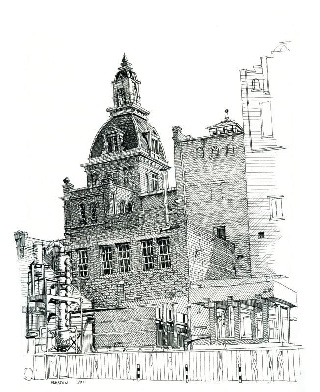 Paul Heaston: Beautiful details and textures on this line drawing of the Pearl Brewery, San Antonio.