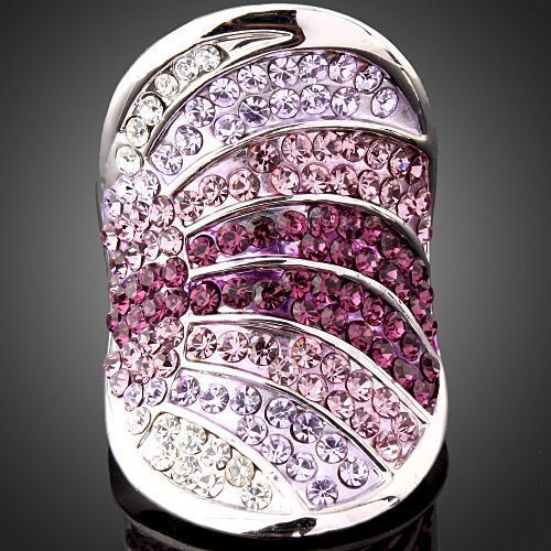 Light & Dark Purple Amethyst Violet Crystals Band Ring  18K White  Gold Plated
