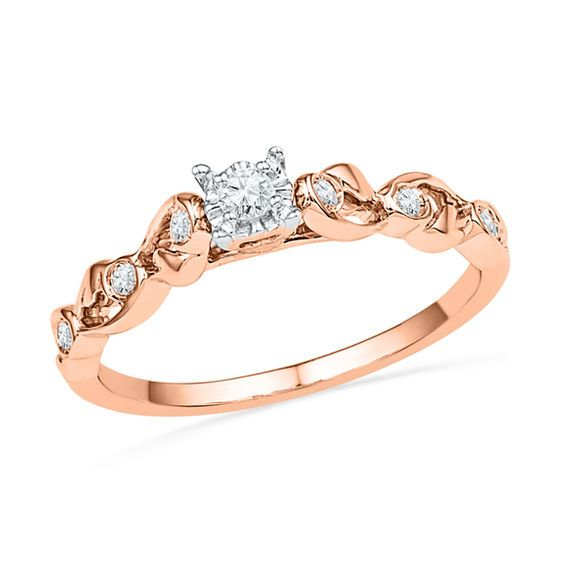 1 8 Ct T W Diamond Ribbon Promise Ring In 10k Rose Gold Zales Rose Gold Promise Ring Rings For Her Promise Rings For Her