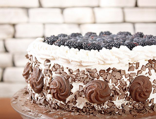 Blueberry-mascarpone cake with a layer of marzipan by csokiparany, via Flickr
