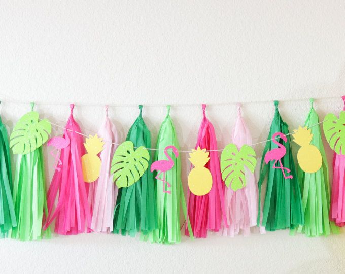 TROPICAL banner Tropical Birthday Party banner Tropical Baby Shower banner Pineapple bridal shower banner Flamingo Luau Instant download #hawaiianluauparty