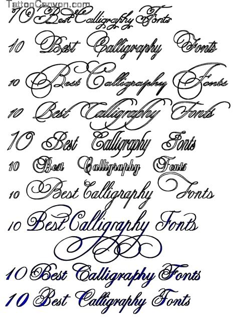 10 Best Calligraphy Fonts Tattoo Design Art Flash Picture 9948