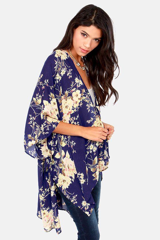 The Peacenik Blue Floral Print Kimono Jacket | Printed