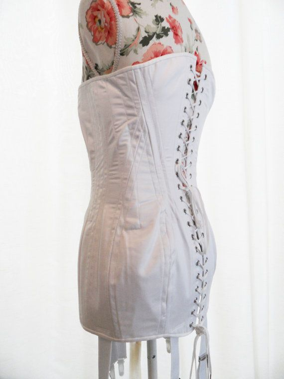edwardian style corset with suspenders
