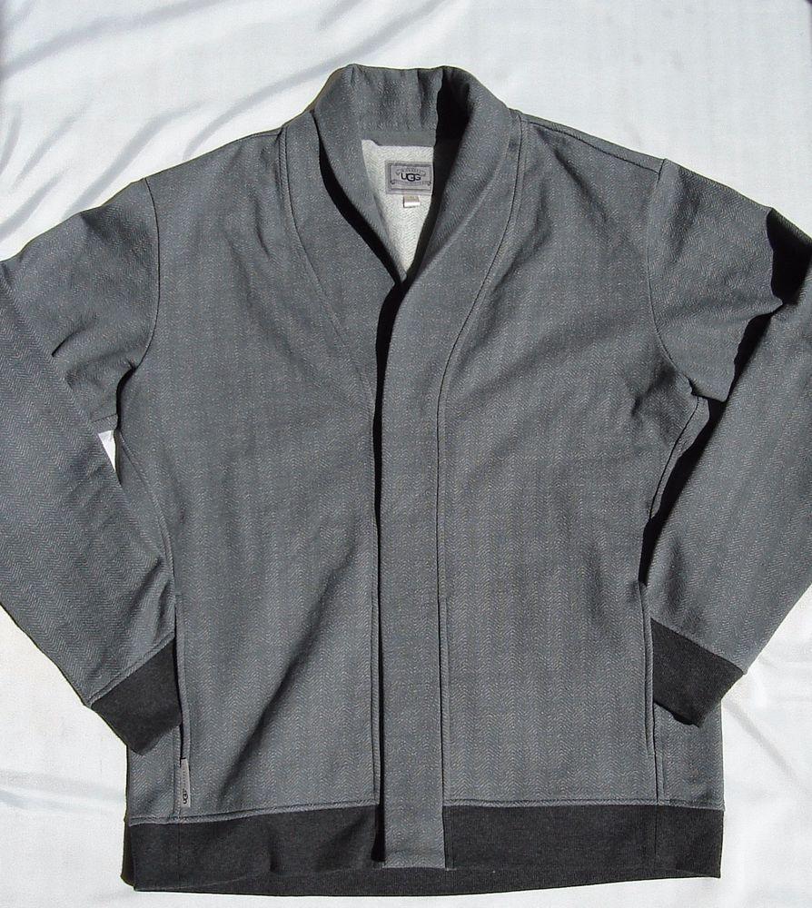 UGG Australia RARE SAMPLE Grey Fleece Cardigan Sweater Mens Large ...