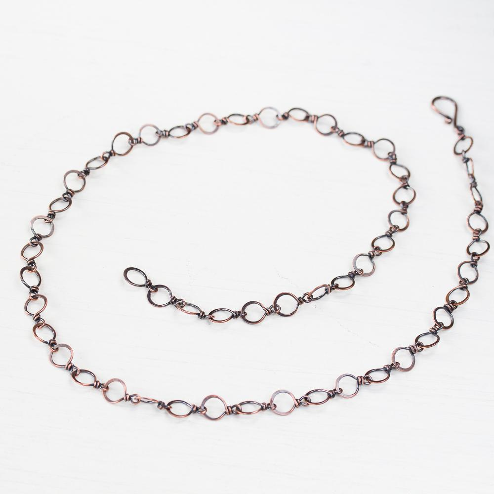 Handmade Wire Wrapped Hammered Copper Links Chain | Handmade wire ...