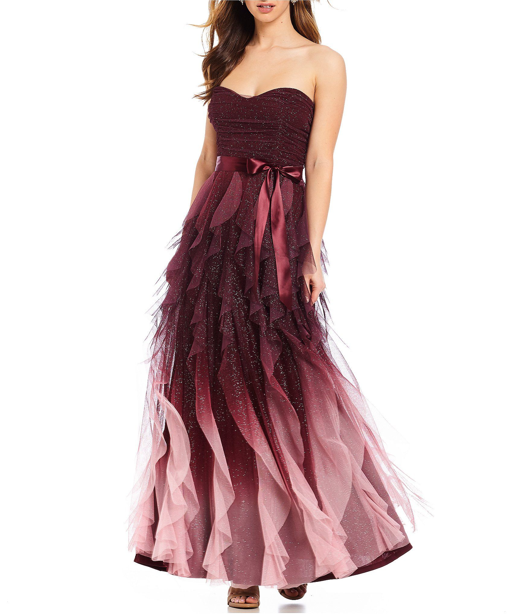Shop for Teeze Me Strapless Glitter Ombre Corkscrew Long Dress at  Dillards.com. Visit Dillards.com to find clothing 7db9bc3f7