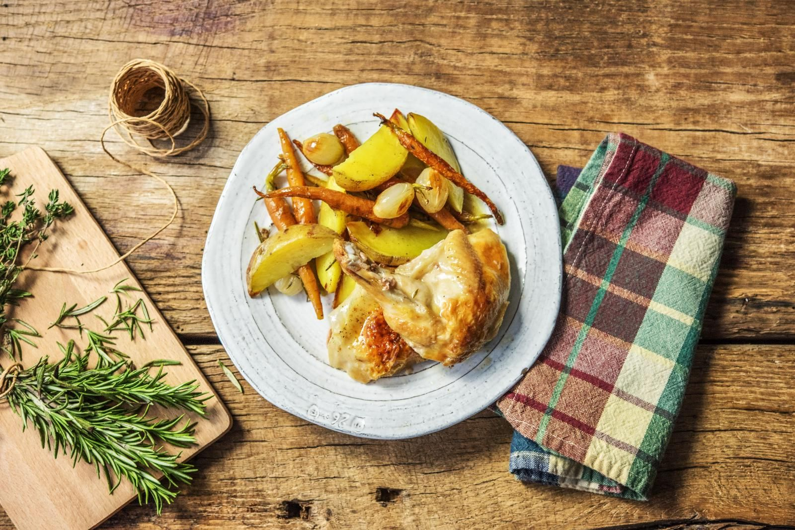 Roasted Half Chicken Dinner With Potato Wedges Pearl Onions And