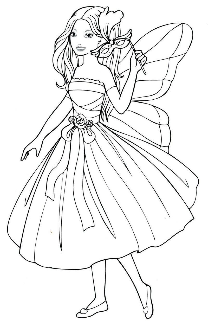 Девочка в карнавальном платье феи   Книжка-раскраска, Феи ...