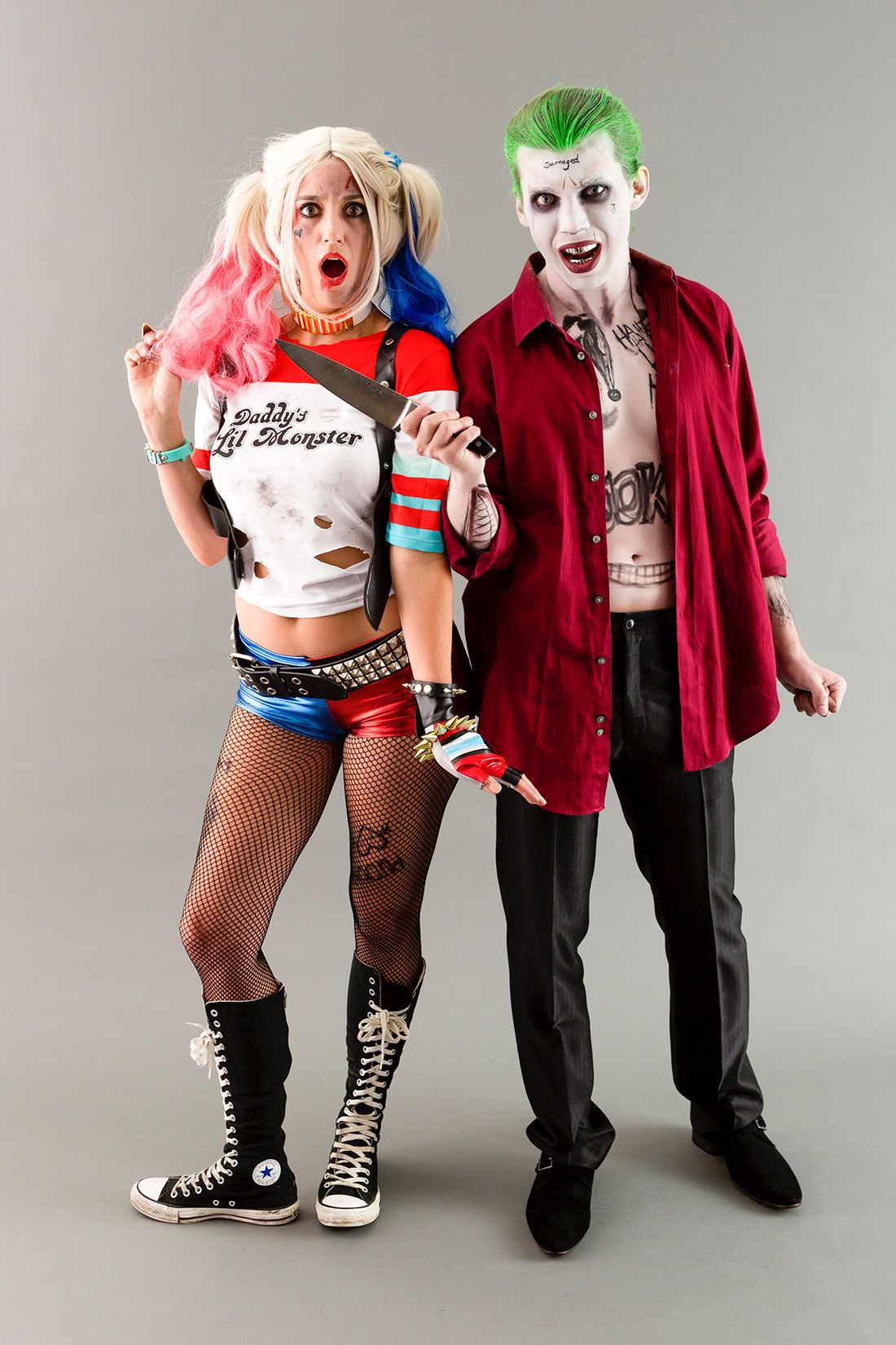 become the joker harley quinn from suicide squad for halloween with this diy halloween couples. Black Bedroom Furniture Sets. Home Design Ideas
