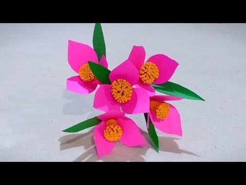 702 How To Make Beautiful Paper Stick Flower Decor Craft