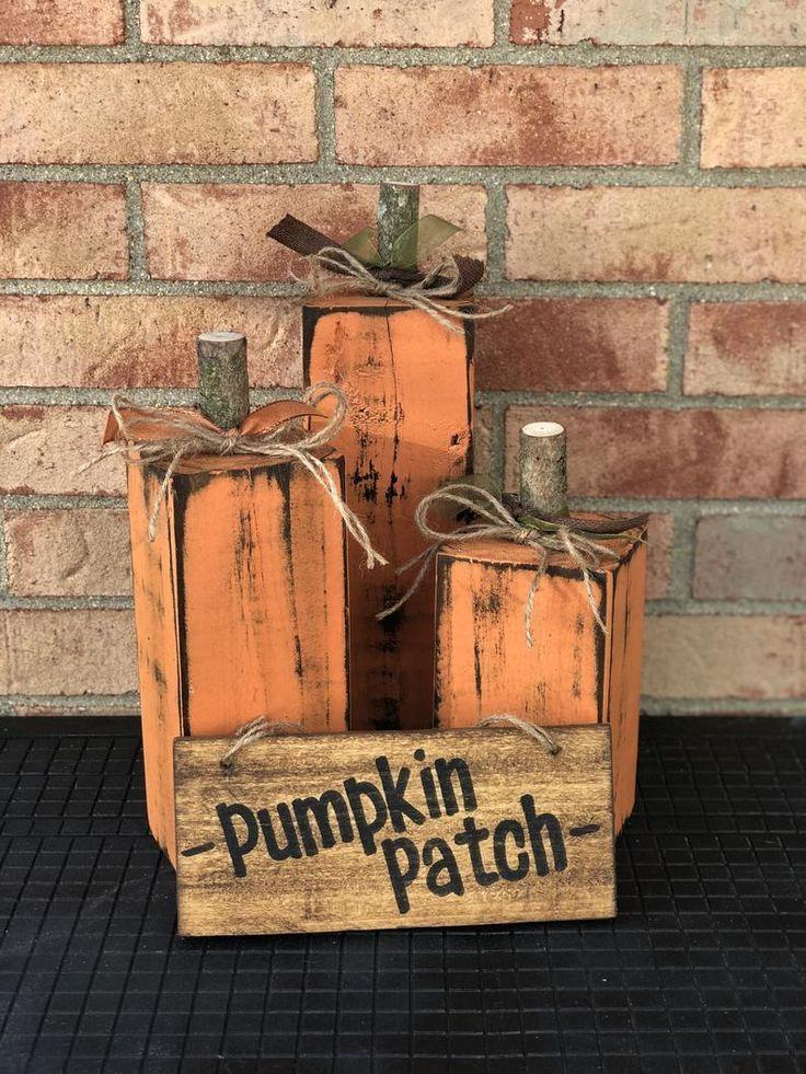 Photo of Wood Pumpkins- Fall Porch Decor (Set of 3)- 4×4 Pumpkins- Thanksgiving Decorations- Halloween Decorations