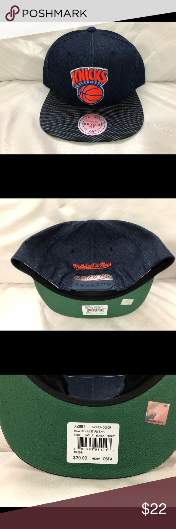51c97931707e4 Mitchell   Ness New York Knicks Snapback Hat New Mitchell   Ness New York  Knicks Hat Cap Snapback Denim One Size Fits All NBA New w  Stickers  Attached ...