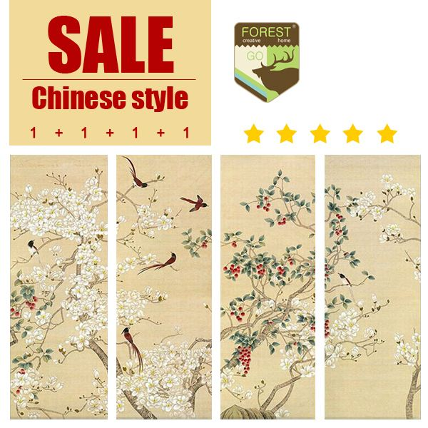 Chinese classical style multi picture combination painting murals classic bird freehand realist flower canvas painting-in Painting & Calligraphy from Home & Garden on Aliexpress.com | Alibaba Group