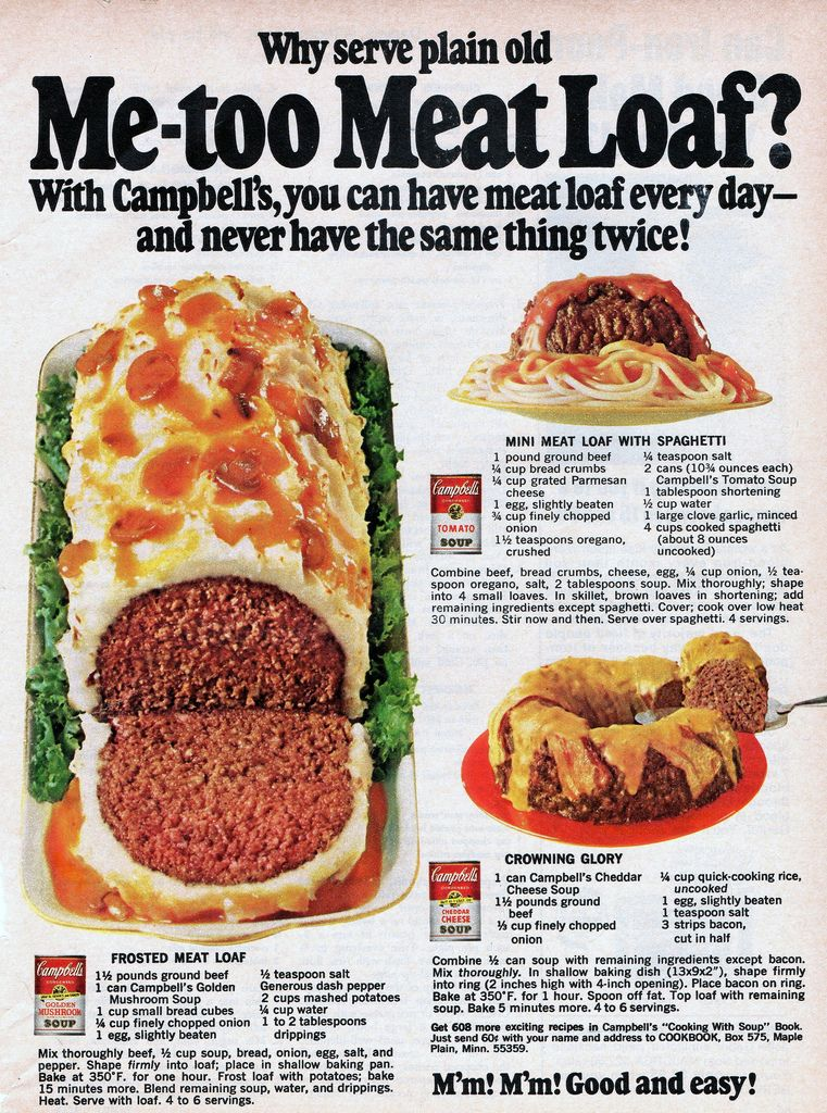 terrific better homes and gardens meatloaf. Campbells Soup Recipes  Frosted Meatloaf Mini Meat Loaf with Spaghetti and Crowning Glory from 1968 loaf Family circle