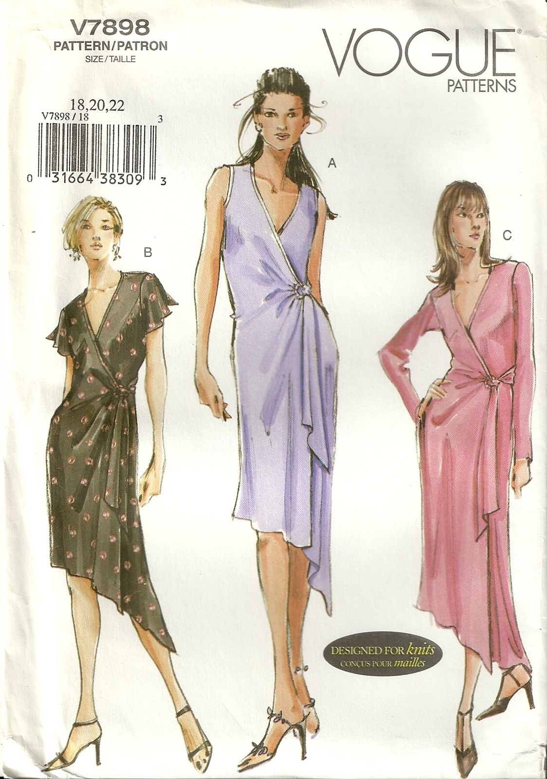 Cly Patterns Vogue 7898 Womens Slinky Wrap Dress Sewing Pattern Size 18 20 22 Plus Y