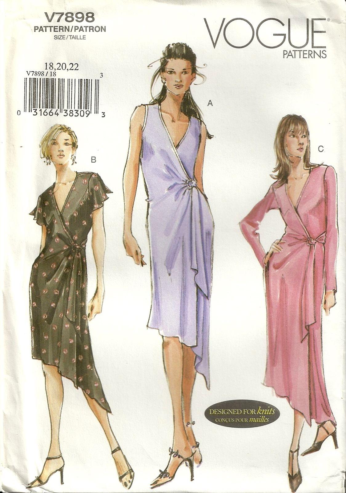 Classy patterns vogue 7898 womens slinky wrap dress sewing classy patterns vogue 7898 womens slinky wrap dress sewing pattern size 18 20 jeuxipadfo Image collections