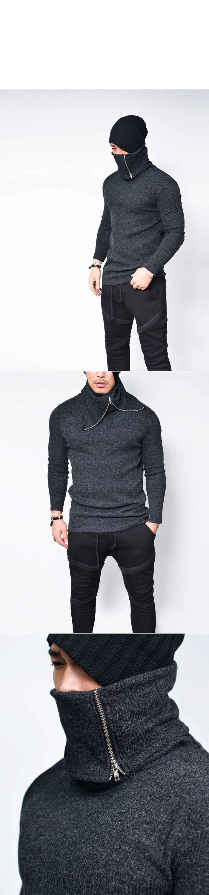 Tops :: Zippered Highneck Turtle Knit-Tee 635 - Mens Fashion Clothing For An Attractive Guy Look