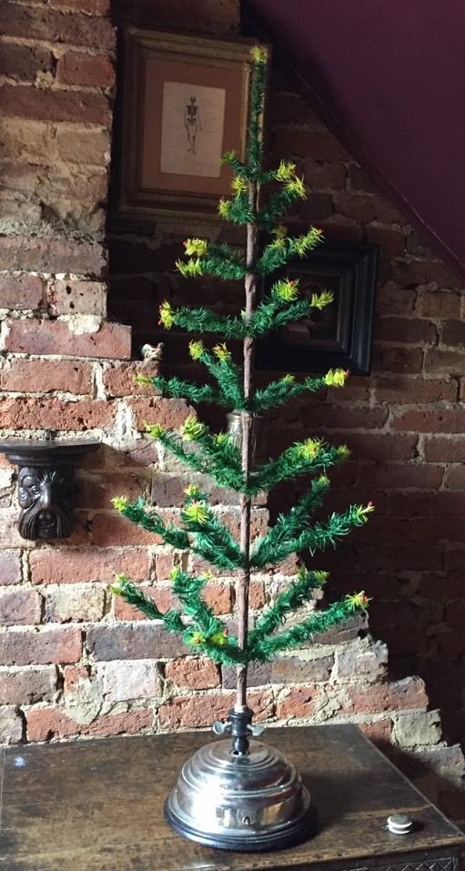 """ANTIQUE VINTAGE 47"""" GOOSE FEATHER CHRISTMAS TREE & ROTATING MUSICAL BASE STAND in Home, Furniture & DIY, Celebrations & Occasions, Christmas Decorations & Trees   eBay"""