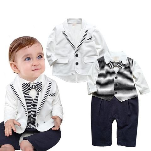 978ceb1b0 Newborn Baby Boys Clothes Set Gentleman Striped Tie Romper + Jacket ...
