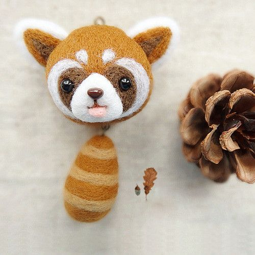 Needle Felted Felting Wool project Animals Raccoon Charm Cute Craft #feltedwoolanimals